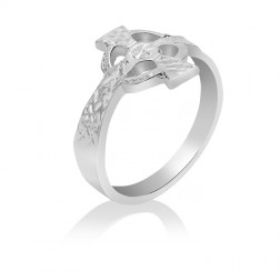 10K White Gold Celtic Cross Ring