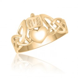 Celtic Knot Claddagh Ring in 10K Yellow Gold