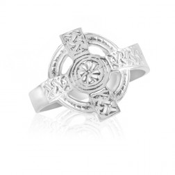 10K White Gold High Cross Ring – Men's Fashion