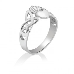 Celtic Knot Claddagh Ring in 10K White Gold