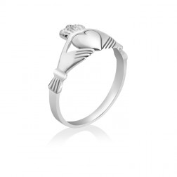 Ladies Claddagh Promise Ring – 10K White Gold – Engagement – Marriage – Heritage – Engagement