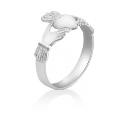 Ladies 10K White Gold Claddagh Ring