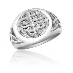 10K White Gold Gold Celtic Infinity Sun Ring