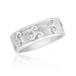 10K White Gold Celtic Triskele Ring