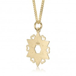 10K Yellow Gold Jewish Star With Hearts Pendant