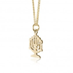 10K Yellow Gold Jewish Menorah Pendant