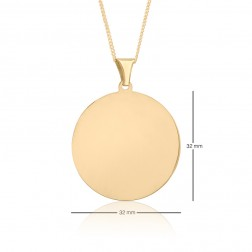 32mm Diameter 10K Yellow Gold Round Dog Tag