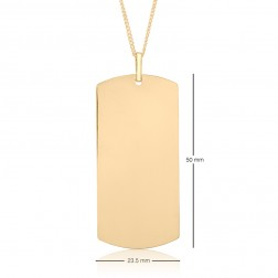 23.5x50mm 10K Yellow Gold Curved End Rectangle Dog Tag