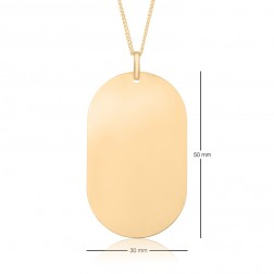 30x50mm 10K Yellow Gold Oval Dog Tag