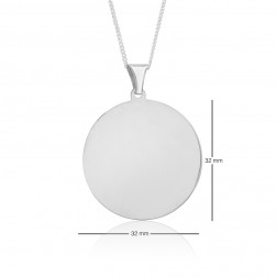 32mm Diameter 10K White Gold Round Dog Tag