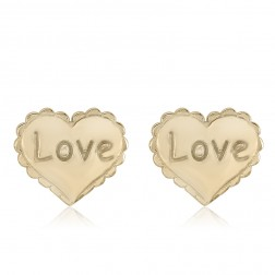 10K Yellow Gold Heart Love Stud Earrings