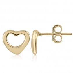 10K Yellow Gold Heart Stud Earrings