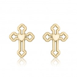 10K Yellow Gold Cross Stud Earrings