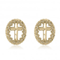 10K Yellow Gold Oval Cross Stud Earrings