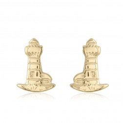 10K Yellow Gold Lighthouse Stud Earrings