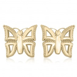 10K Yellow Gold Butterfly Stud Earrings