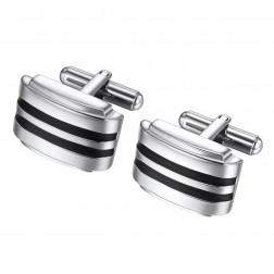 Domed Stripe Design Brushed Stainless Steel Cufflinks