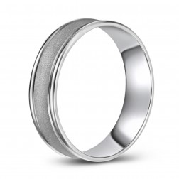 10K White Gold Concave Frosted Wedding Band