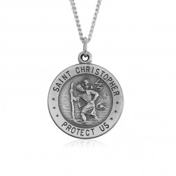 Saint Christopher 18.5mm Sterling Silver Pendant Charm