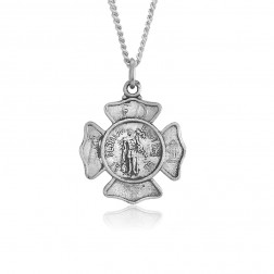 Saint Florian Fire Department Shield 18mm x 18mm Sterling Silver Pendant Charm