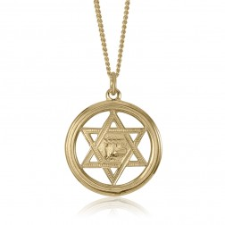 14K Yellow Gold Jewish Star Pendant