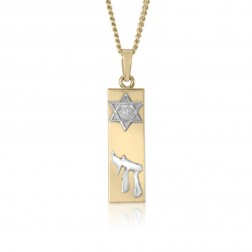 14K Two Tone Jewish Bar Themed Pendant