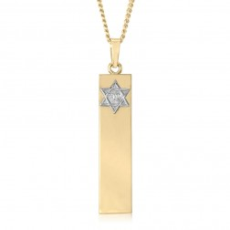 14K Two Tone Jewish Star Bar Pendant