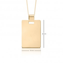 19x28mm 10K Yellow Gold Curved Corner Rectangle Dog Tag