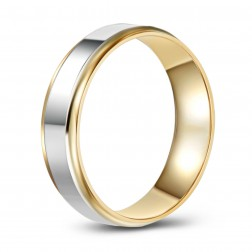 Two Tone High Polish 10K Gold Wedding Band