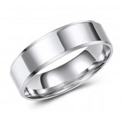 Simple Stylish 10K White Gold High Polished Wedding Band