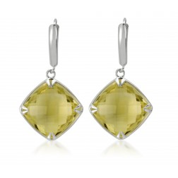 Double Sided Checkerboard Lemon Quartz Earring