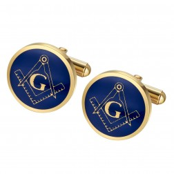 Blue Masonic Fraternity Cufflinks in Stainless Steel with Yellow Gold Plate