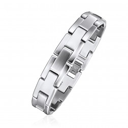 Mens Stainless Steel Brick Links Bracelet