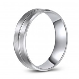 10K White Gold Brushed Finish Wedding Band with Beveled Edge and Stylized Line Cut