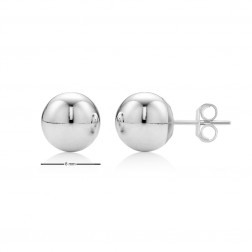 14K White Gold Ball Studs - 8mm