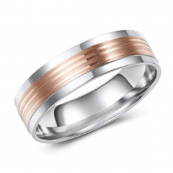 Two Tone 10K Gold Wedding Band – Textured Finish