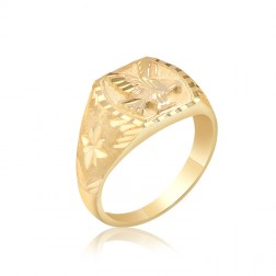 10K Yellow Gold Men's Eagle Ring