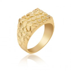 10K Yellow Gold Men's Nugget Ring with Solid Back