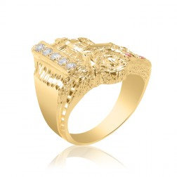 10K Yellow Gold Men's Truck Ring with Stones