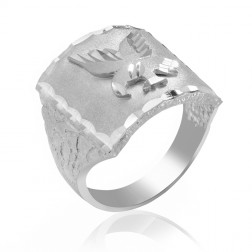 Sterling Silver Men's Eagle Ring with Nugget Pattern