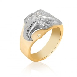 10K Two Tone Men's Eagle Ring