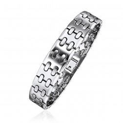 Mens Stainless Steel Stitched Bracelet
