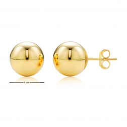 14K Yellow Gold Ball Studs - 9mm