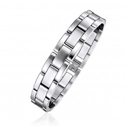 Mens Stainless Steel Bricked Links Bracelet