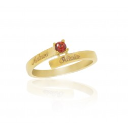10K Yellow Gold Stunning Ring – 1 Birthstone Family Ring Engraved with Names