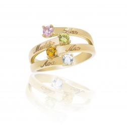 10K Yellow Gold Stunning Ring – 4 Birthstone Family Ring Engraved with Names