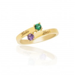 10K Yellow Gold Stunning Ring – 2 Birthstone Family Ring Engraved with Names
