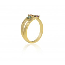 10K Yellow Gold Stunning Ring – 3 Birthstone Family Ring Engraved with Names