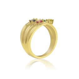 10K Yellow Gold Stunning Ring – 5 Birthstone Family Ring Engraved with Names