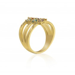 10K Yellow Gold Stunning Ring – 6 Birthstone Family Ring Engraved with Names
